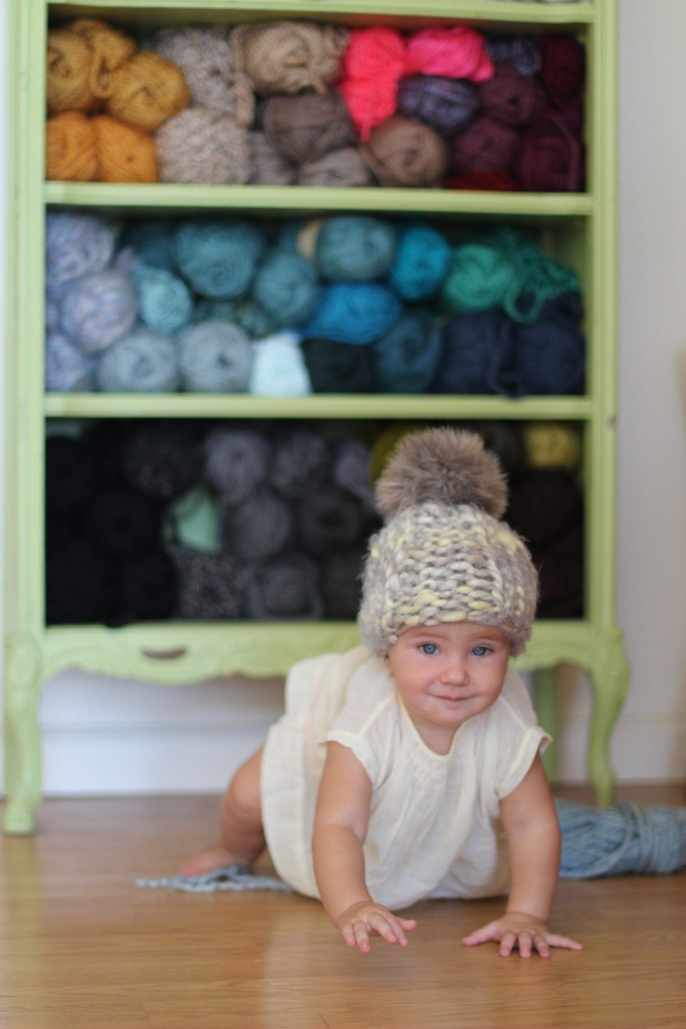 fuzzy baby beanie with faux fur pom pom by blue corduroy