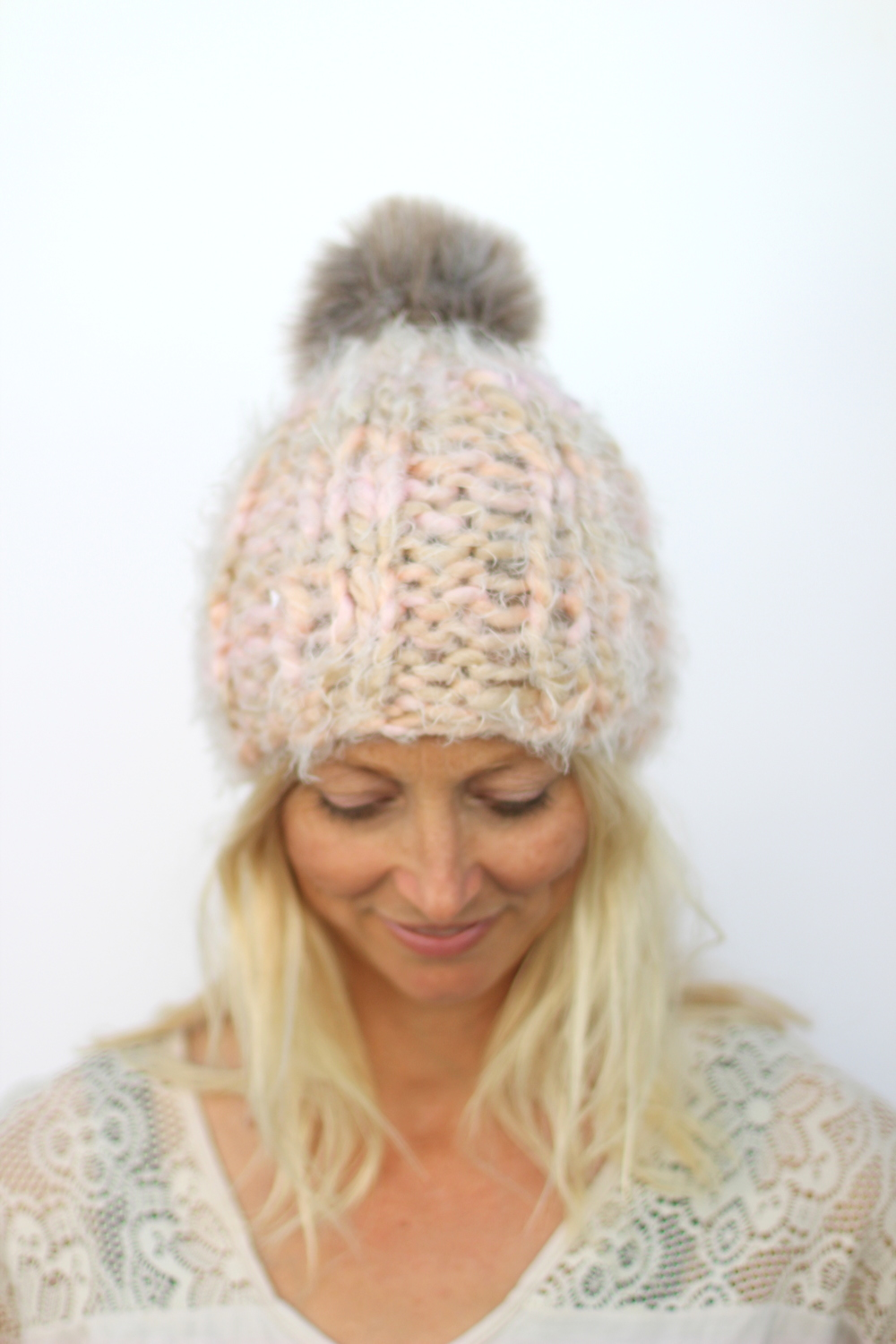 faux fur pom pom beanie by blue corduroy
