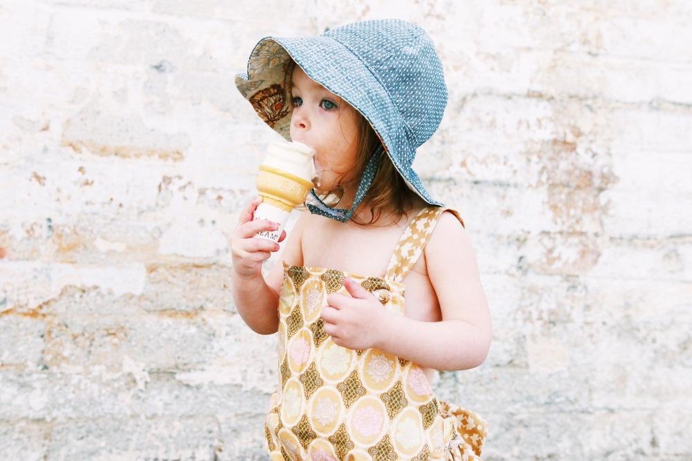 baby girl denim sun hat
