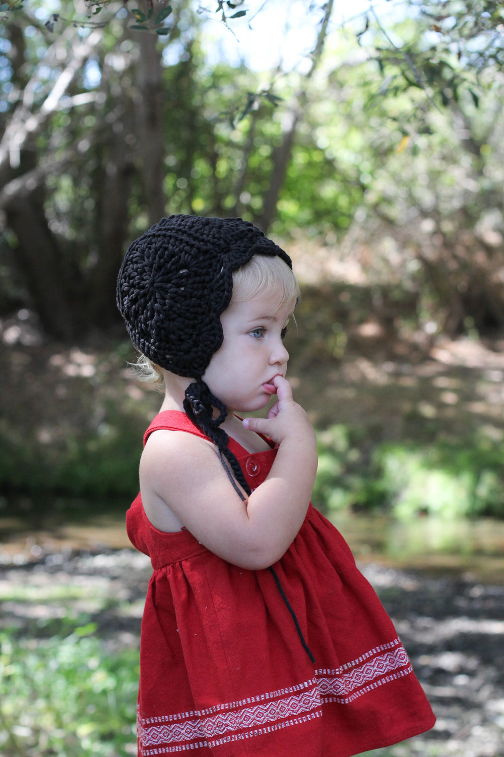 Crochet Baby Bonnet in Black, handmade by bluecorduroy.com