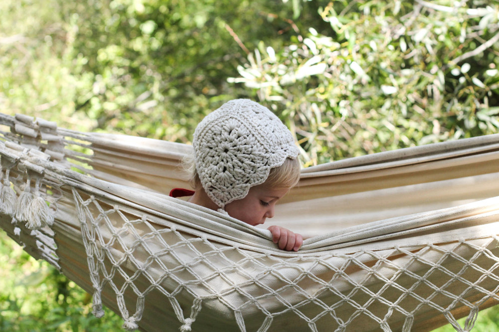 hand made crochet bonnet cotton