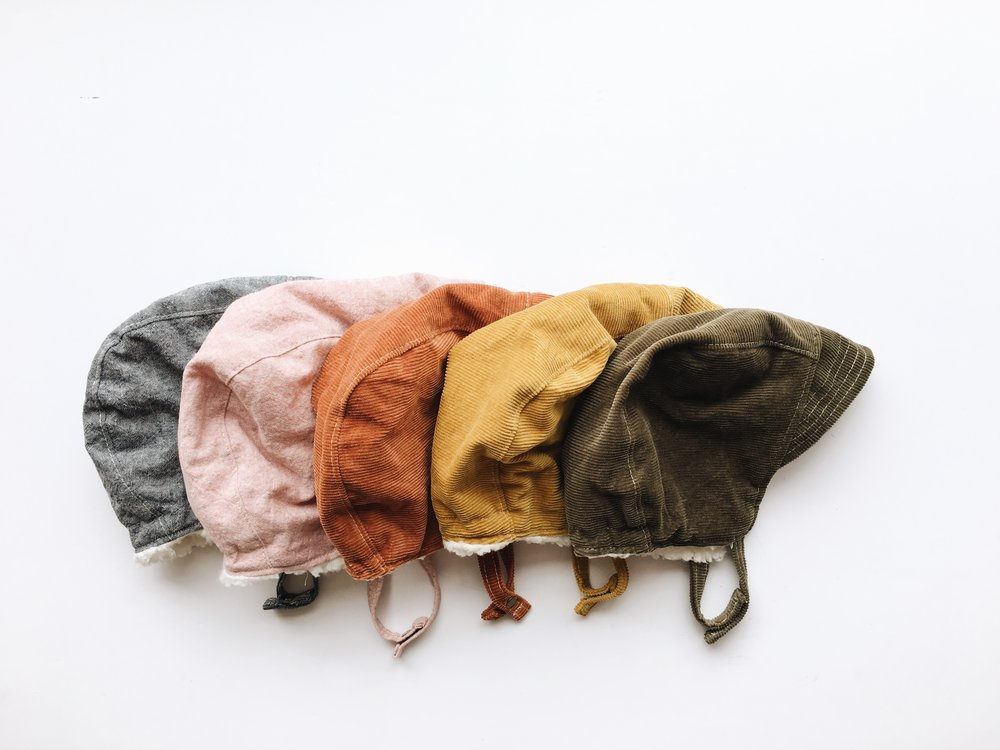 Baby Bonnets with cozy sherpa lining. Fall Baby Style by bluecorduroy.etsy.com