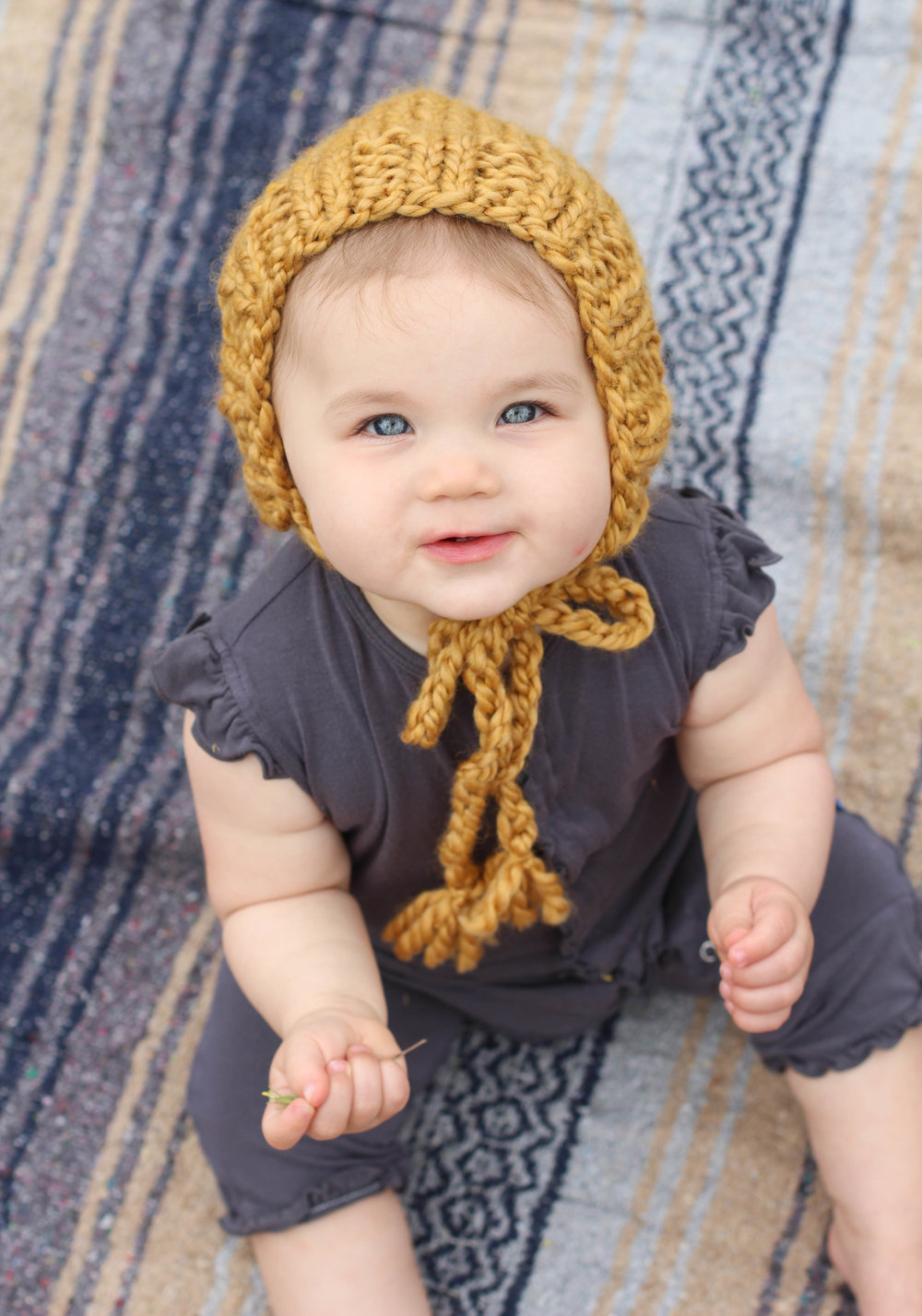 Knit Baby Bonnet for Fall by blue corduroy.etsy.com