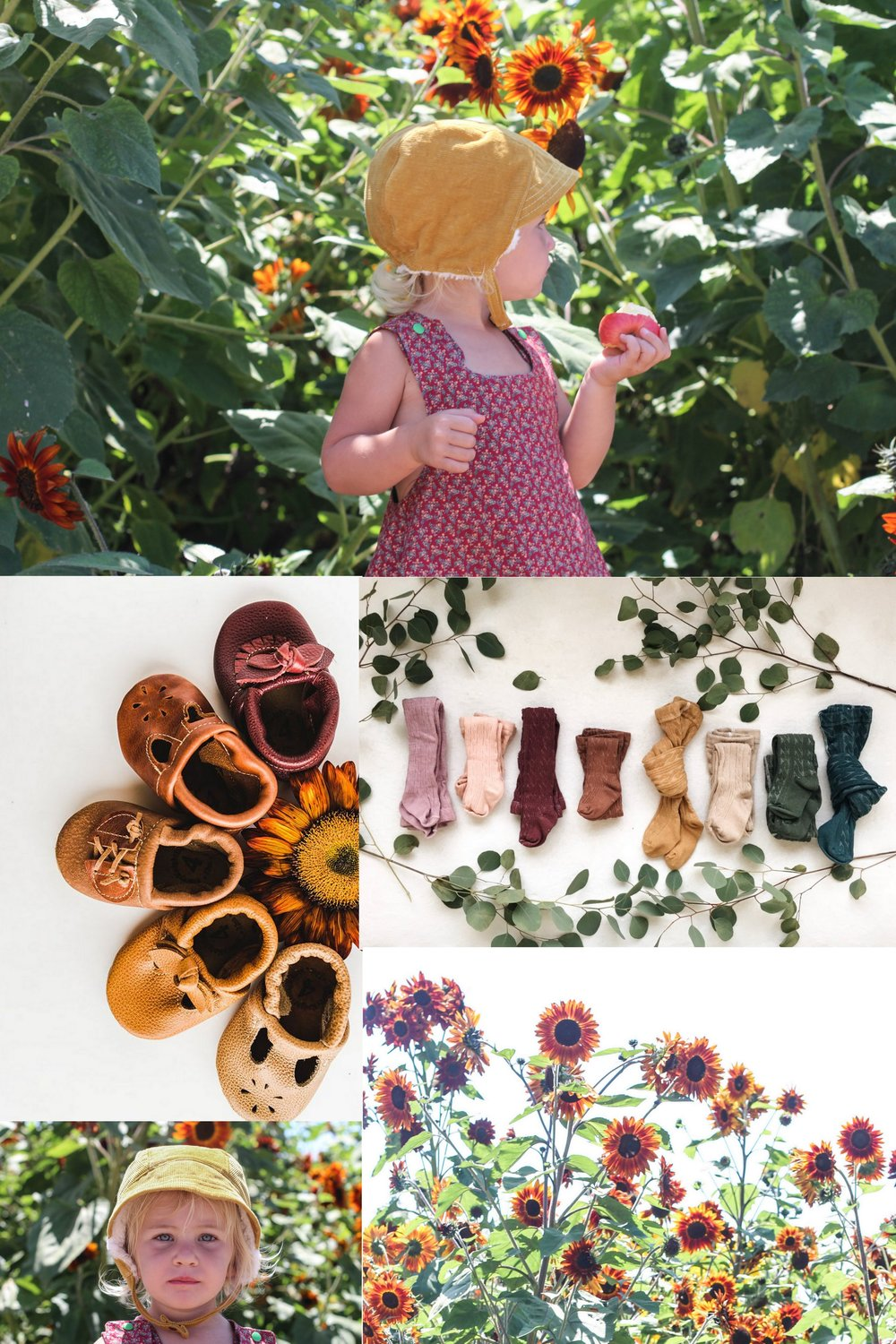 Fall Baby Outfit Inspiration. What to wear in a Sunflower Field.  Fall Baby Style. Sunflowers. with Blue Corduroy, Sister Moth Shop, Starry Knight Designs, and Sawyer and Halle products