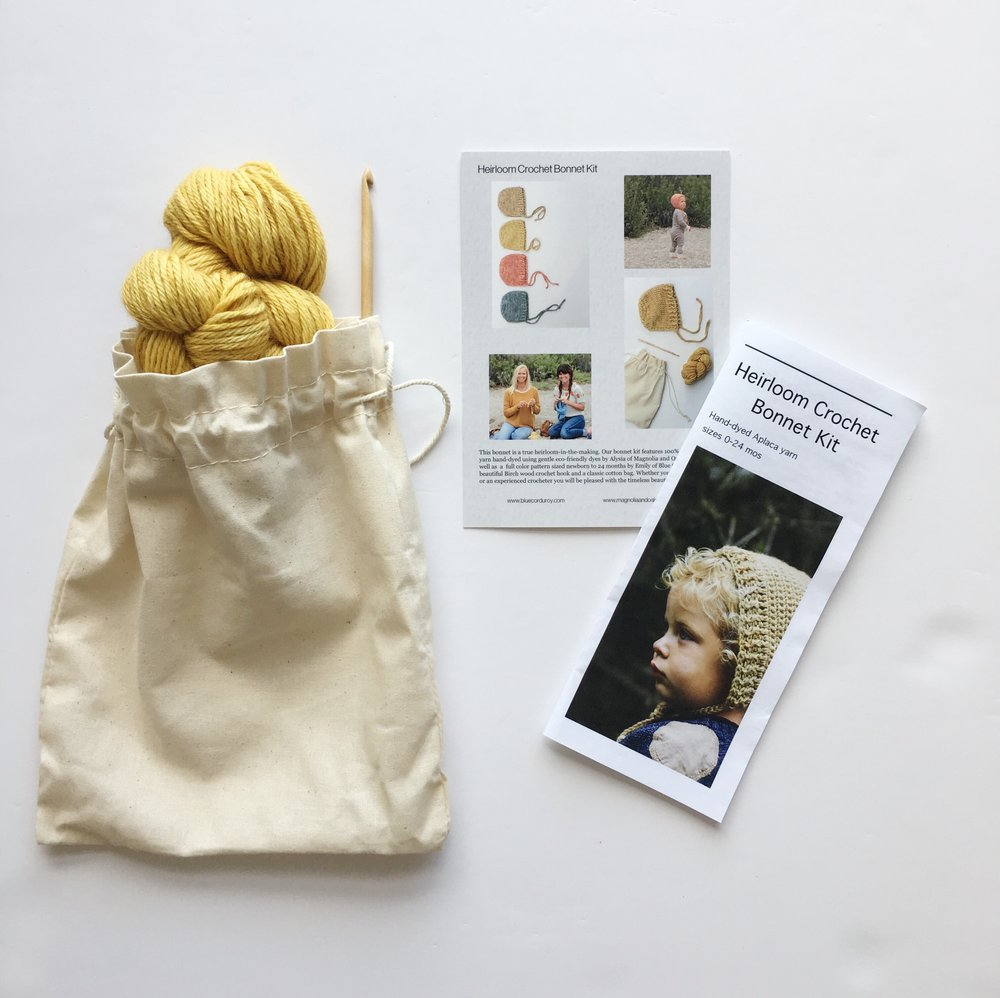 Crochet Baby Bonnet Kit includes hand-dyed Alpaca Yarn, birchwood crochet hook and a petter