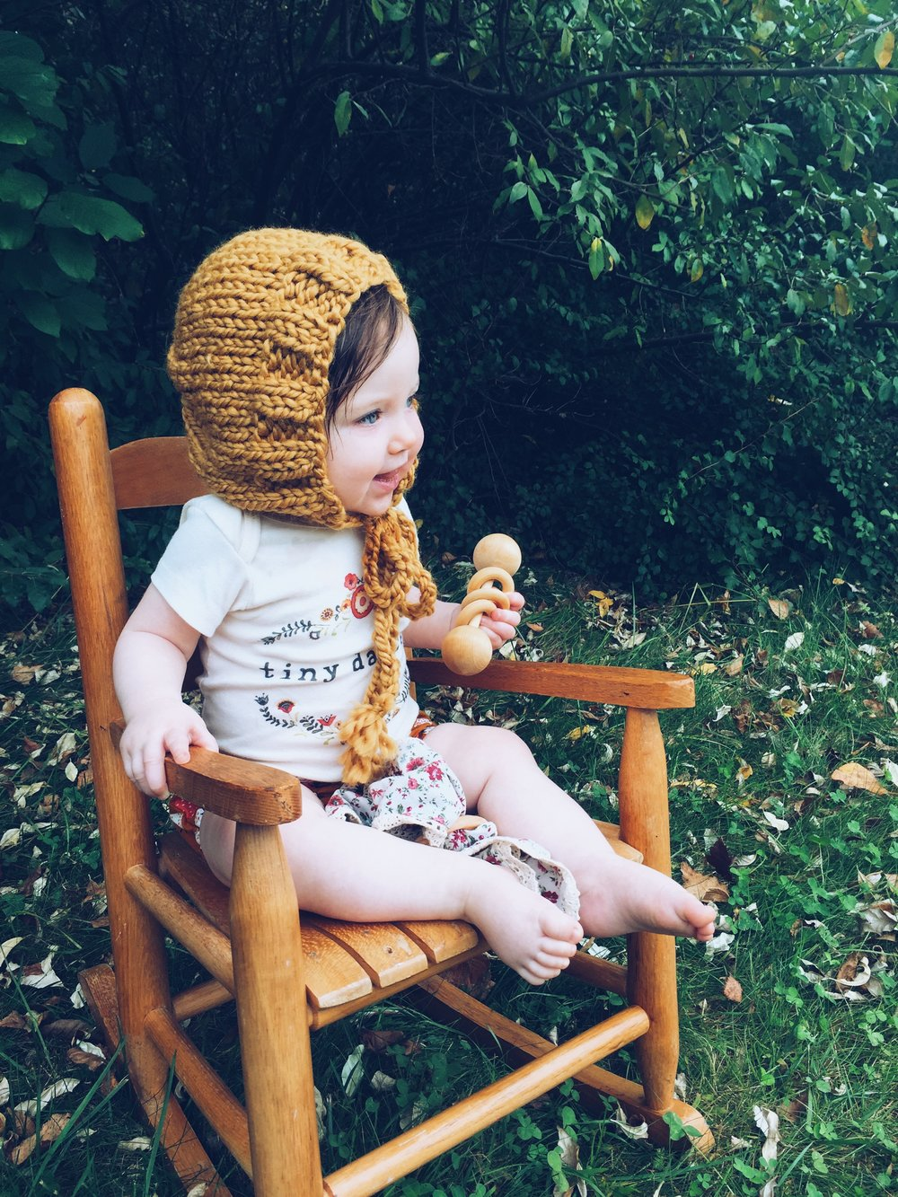 Mustard Yellow Knit Baby Bonnet by Bluecorduroy.etsy.com