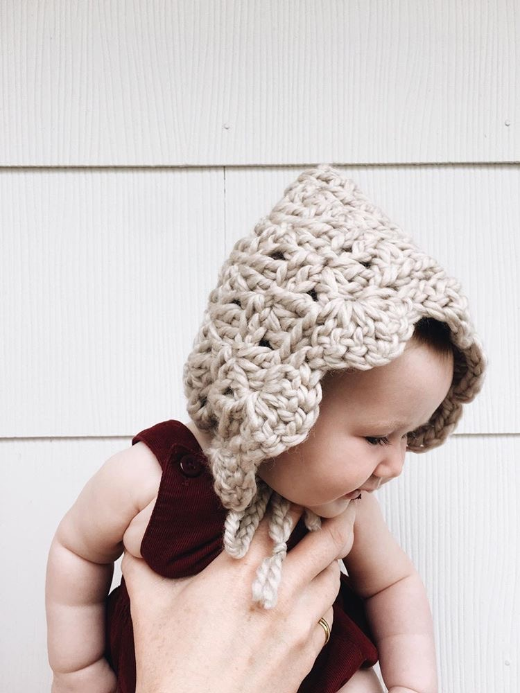 Winter Baby Style, Knit Baby Bonnet, Pixie Hat, by Bluecorduroy.etsy.com