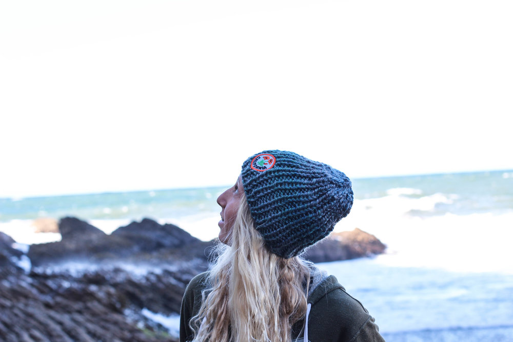 blue knit beanie with California Poppy patch by bluecorduroy.com