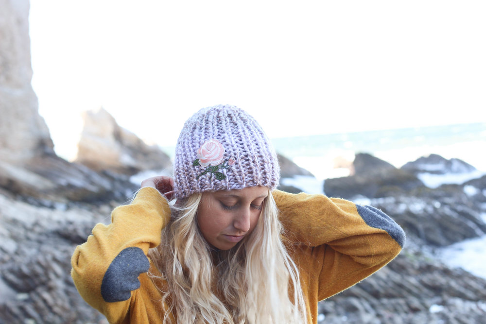 Pink Rose Knit Beanie by bluecorduroy.com