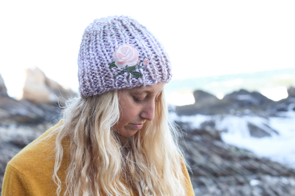 Pink Rose Knit Beanie by  Blue Corduroy