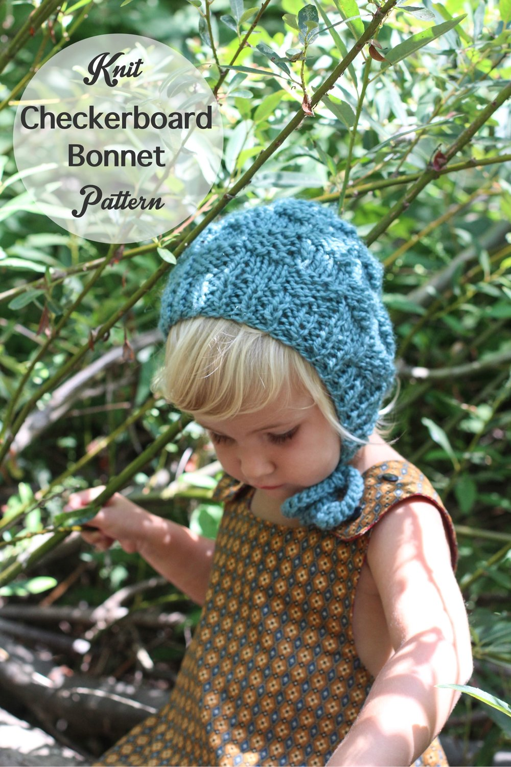 Knit Baby Bonnet Pattern A Chunky Checkerboard Blue Corduroy