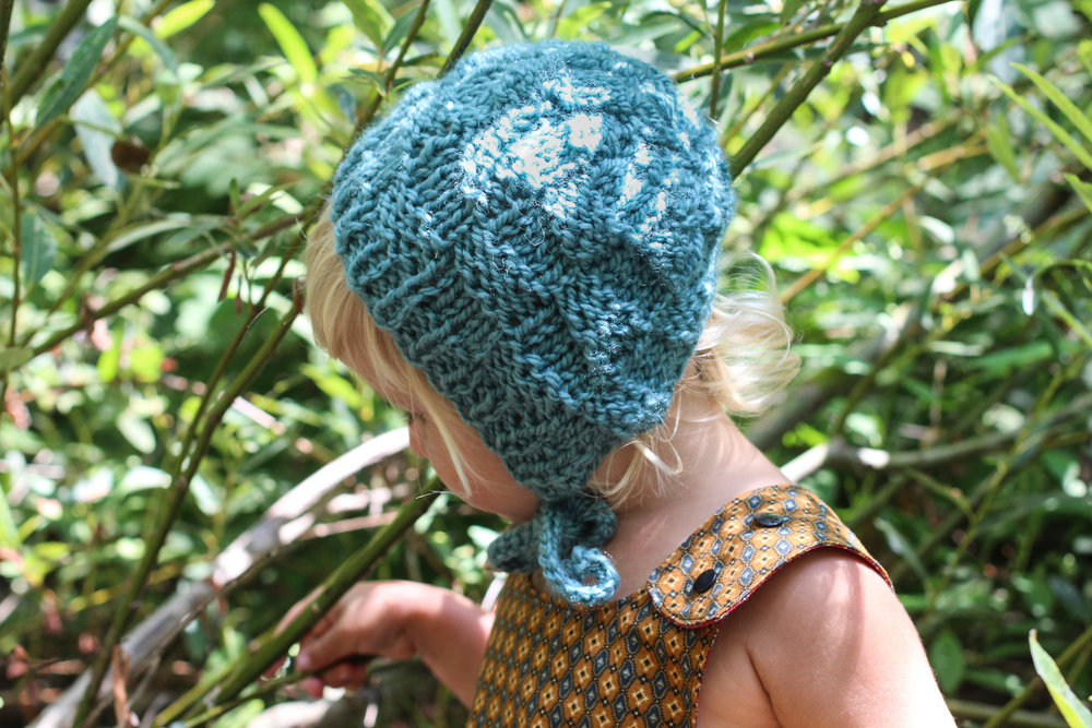 Baby Bonnet Knit Checkerboard Pattern by Bluecorduroy.com