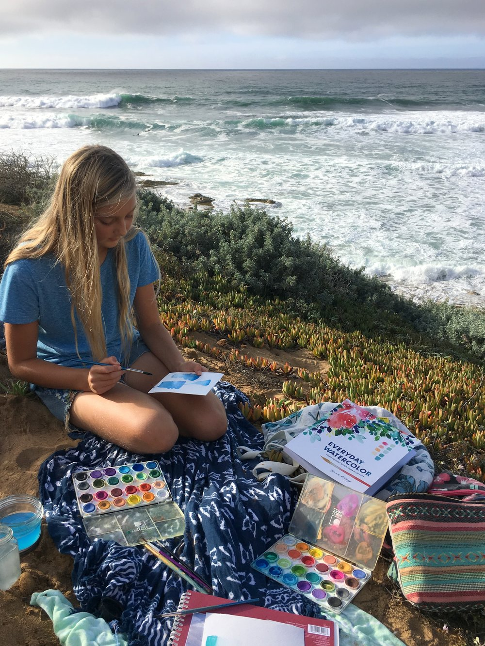 watercoloring at the beach with Everyday Watercolor