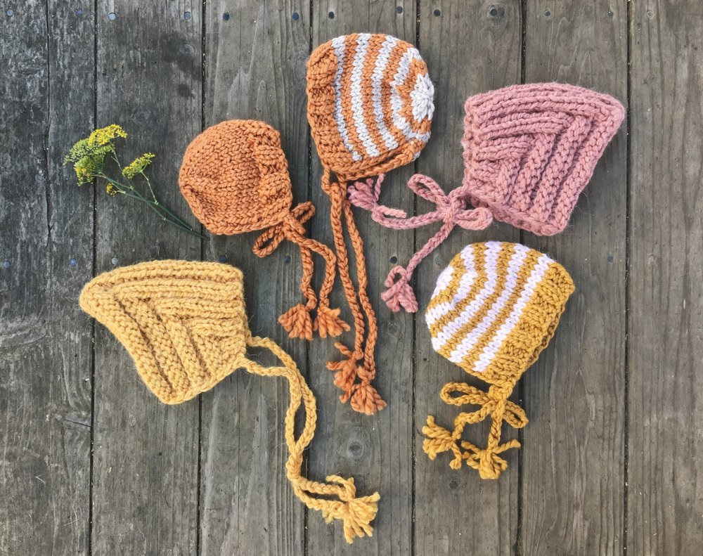 Knit Baby Bonnets by BlueCorduroy.etsy.com