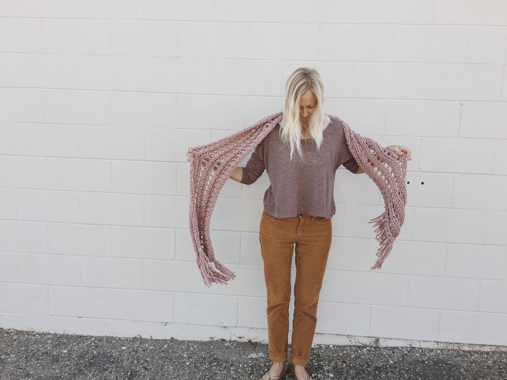 Long Knit Scarf with Fringe in dusty pink by Bluecorduroy.com