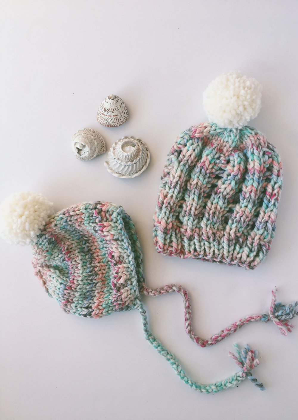 mommy and me pom pom knit hats