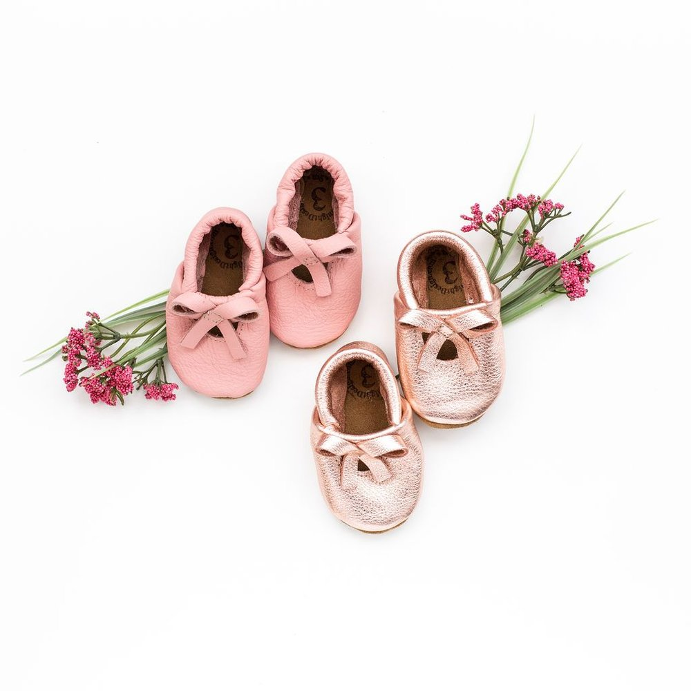 The sweetest Rose Gold or Pink Leather Slippers by  Starry Knight Designs .
