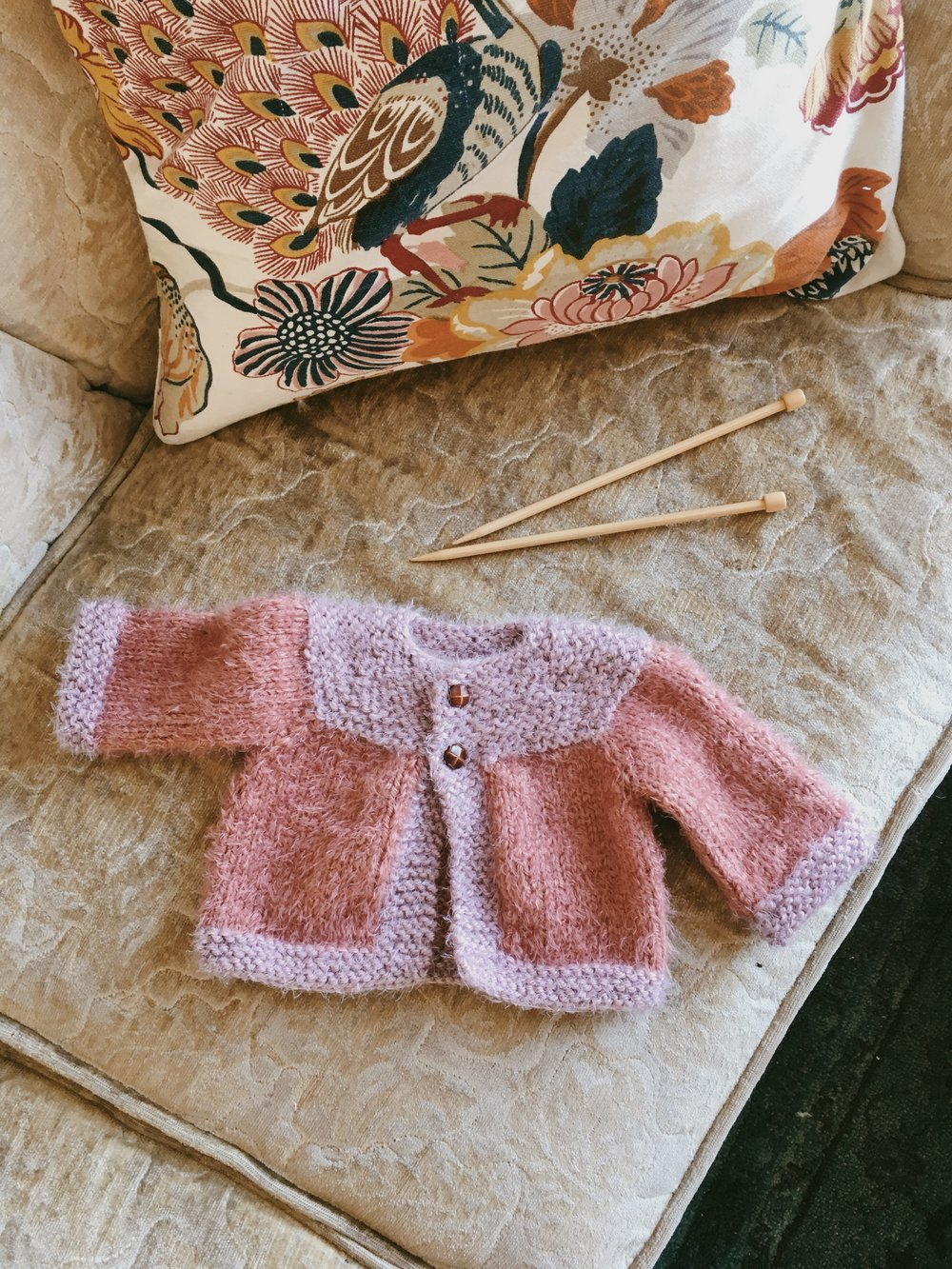 Hand Knit baby girl cardigan sweater