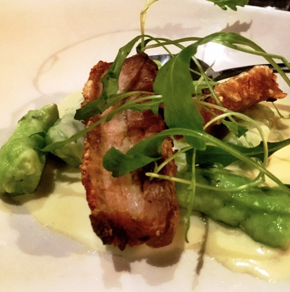 Course 3 - chive gnocchi with crispy pork belly, gorgonzola cream sauce, wild rocket