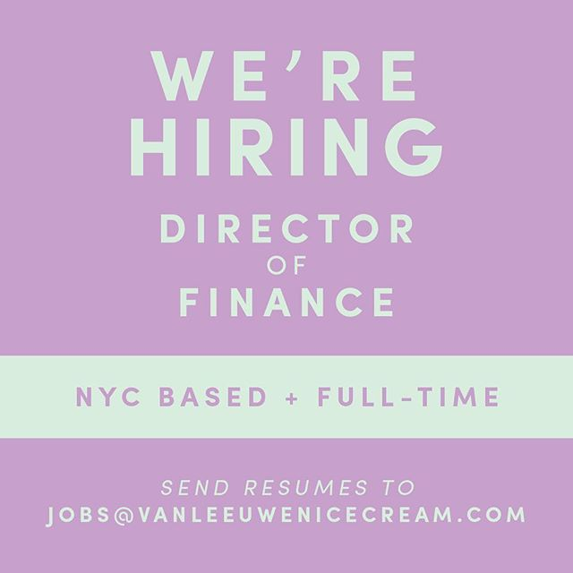 We're hiring at VL HQ in Brooklyn! Send your resume to jobs@vanleeuwenicecream.com to apply!