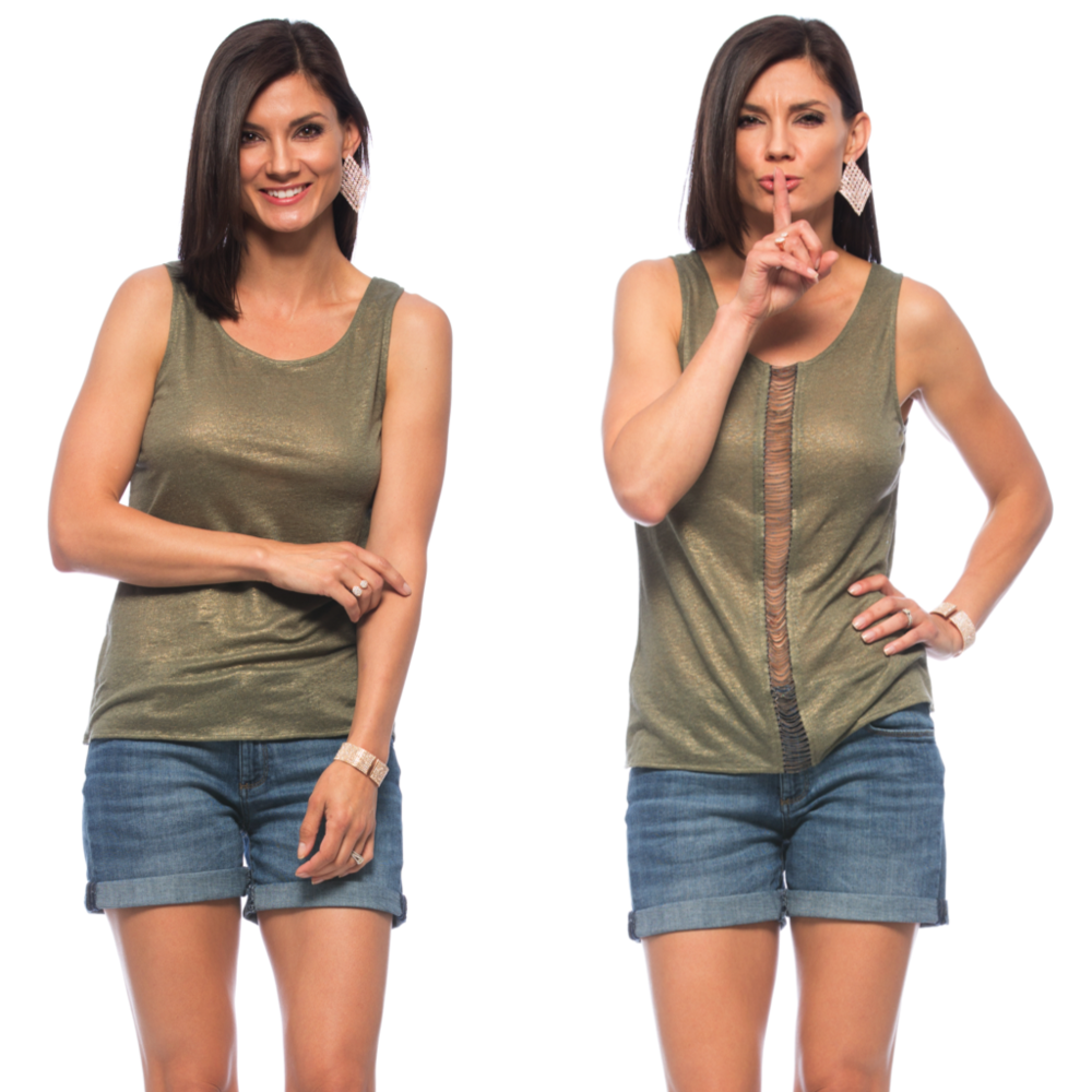 Go sleeveless this summer and shimmer in the sun, in the tank version of the top above! We love options, and this tank allows you to work it with either the chains falling down the back or down the front if you're feeling extra feisty!
