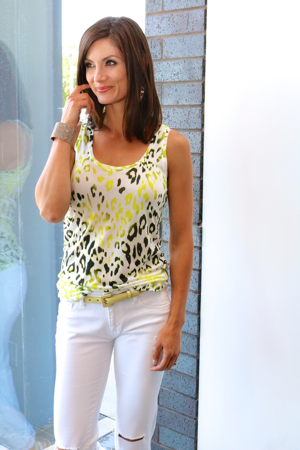 Majestic Animal Print Tank in Yellow/Black $115  and  DL1961 Azalea Relaxed Skinny Jeans in Mercury $168