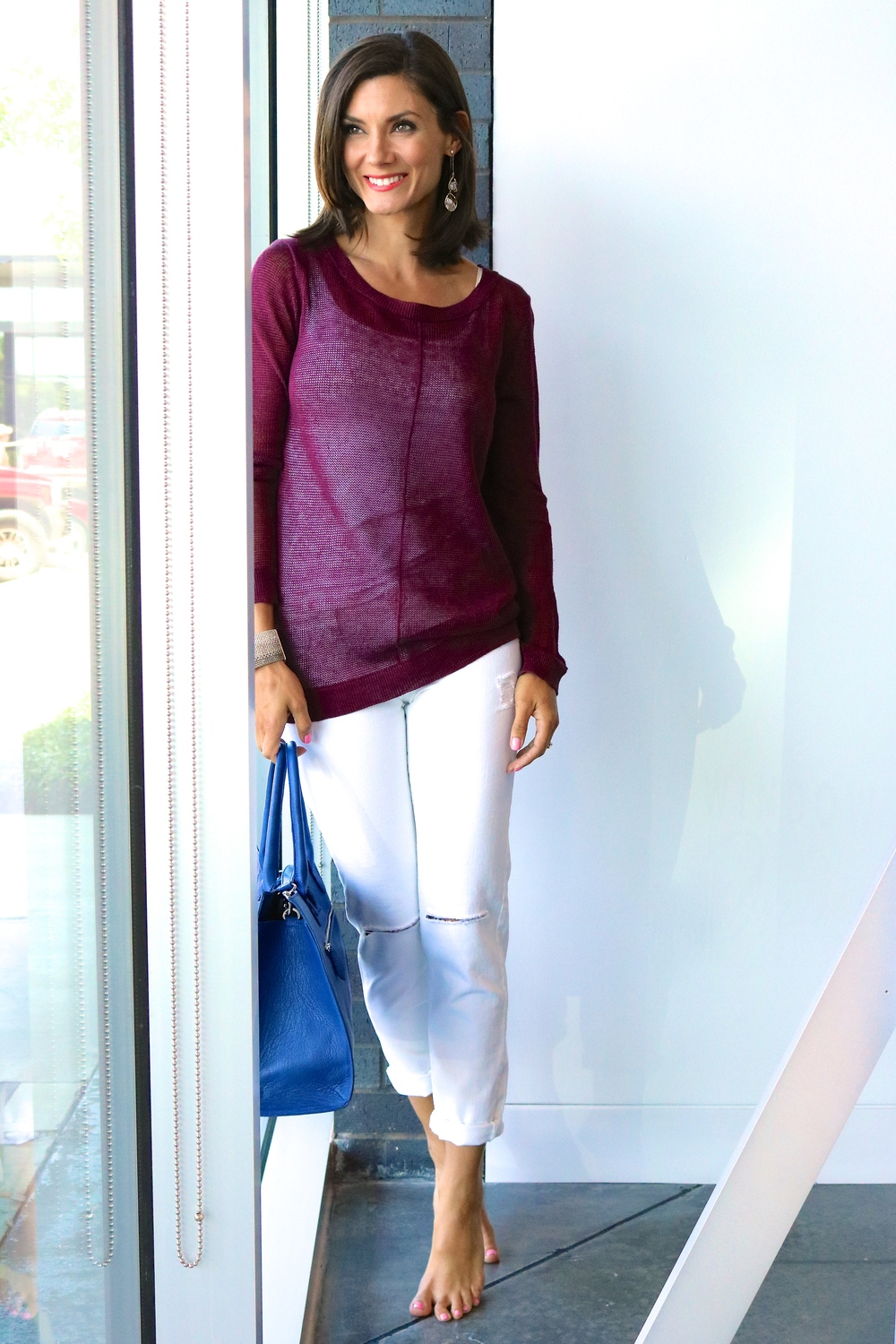 Linen Crewneck Sweater in Pinot on sale for $168.00