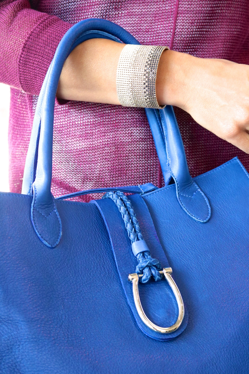 Ombre 20 Row Crystal Bangle (in-store only).  Laggo Maxine Leather/Suede handbag $525.00 (in-store only).