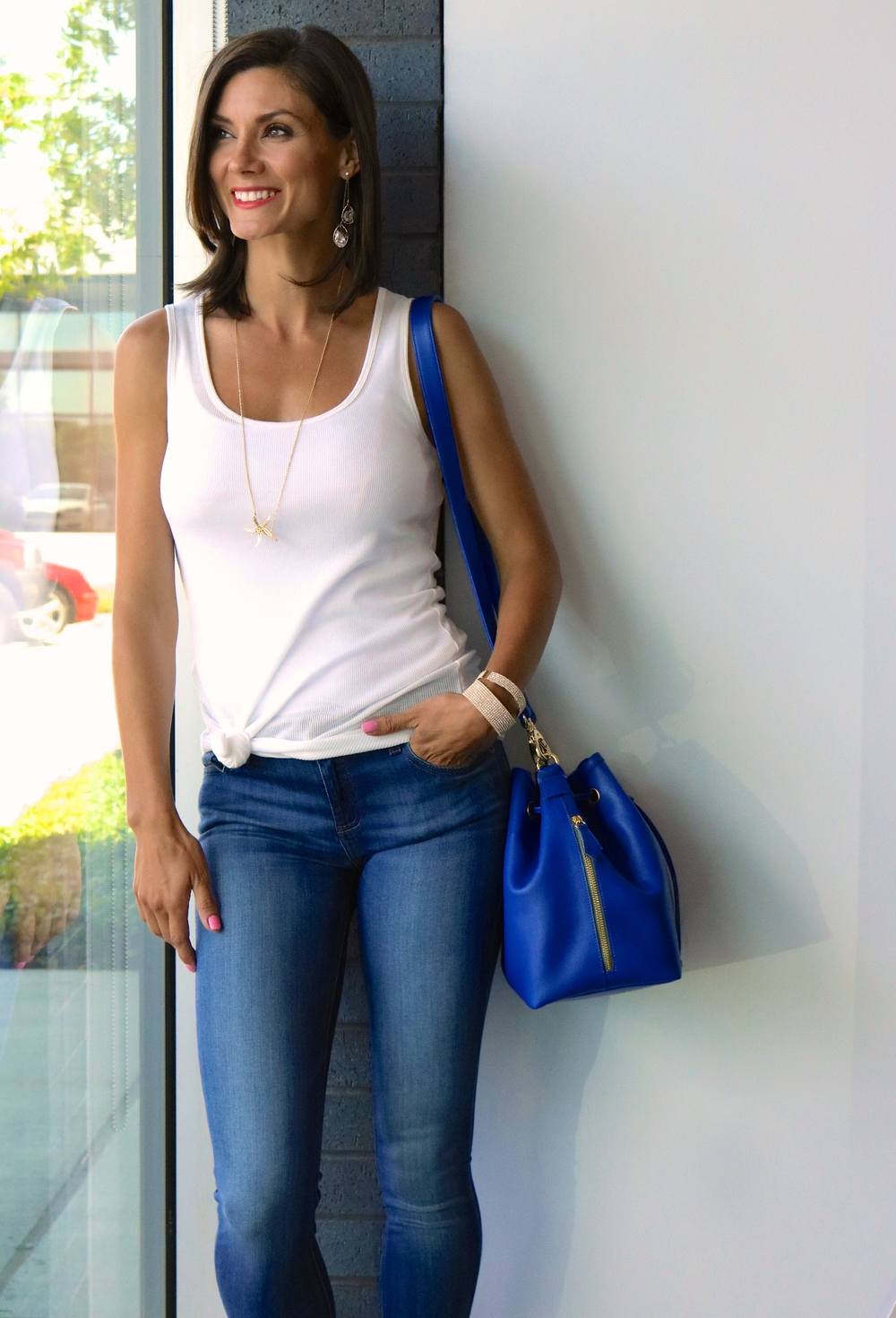 Majestic ribbed long tank (in-store only); DL1961 Florence Skinny Jeans in Prinia $178.00