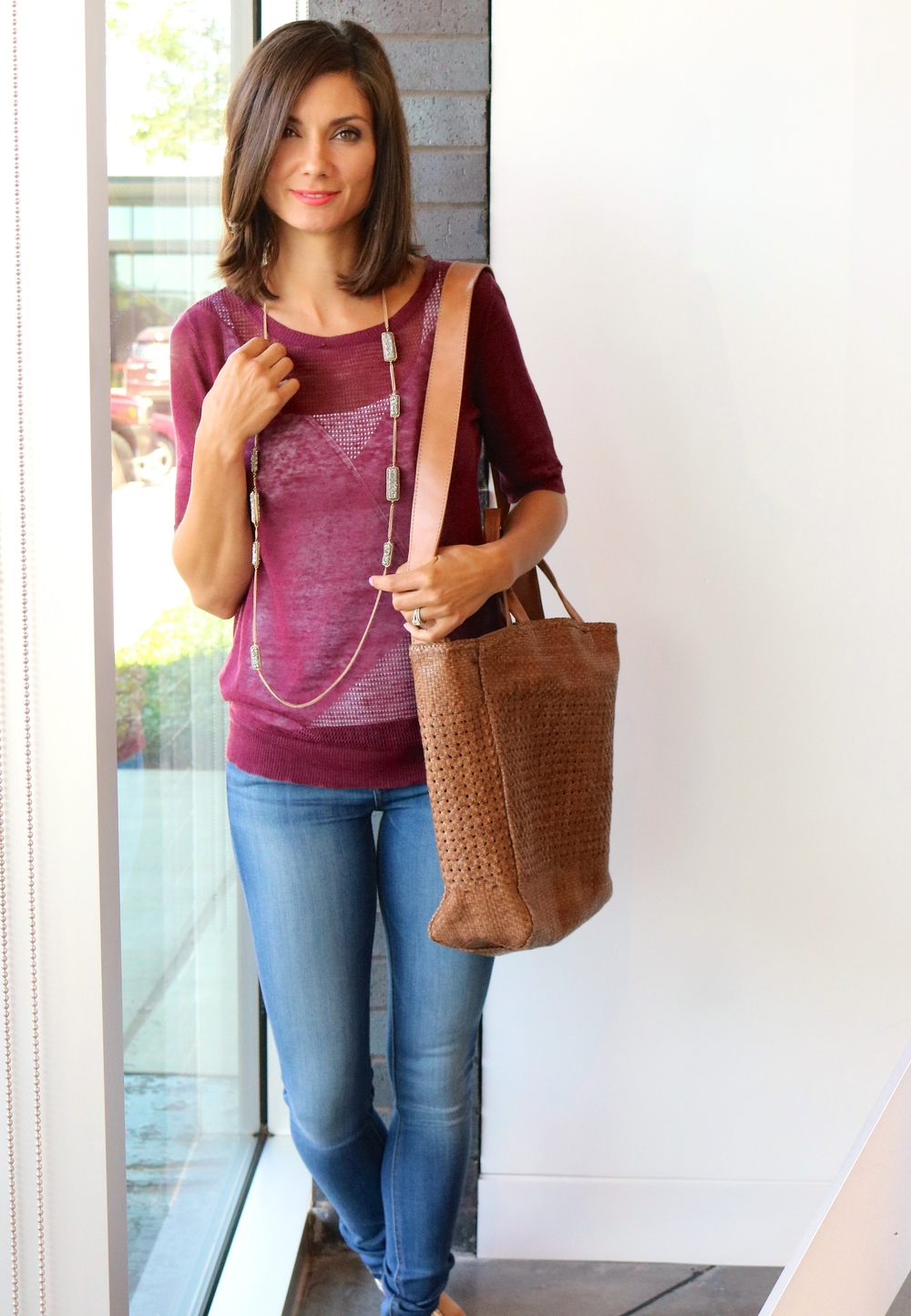 Linen Diagonal Open Stich Short Sleeve Sweater on sale for $160.00; DL1961 Florence Skinny Jeans in Prinia $178.00