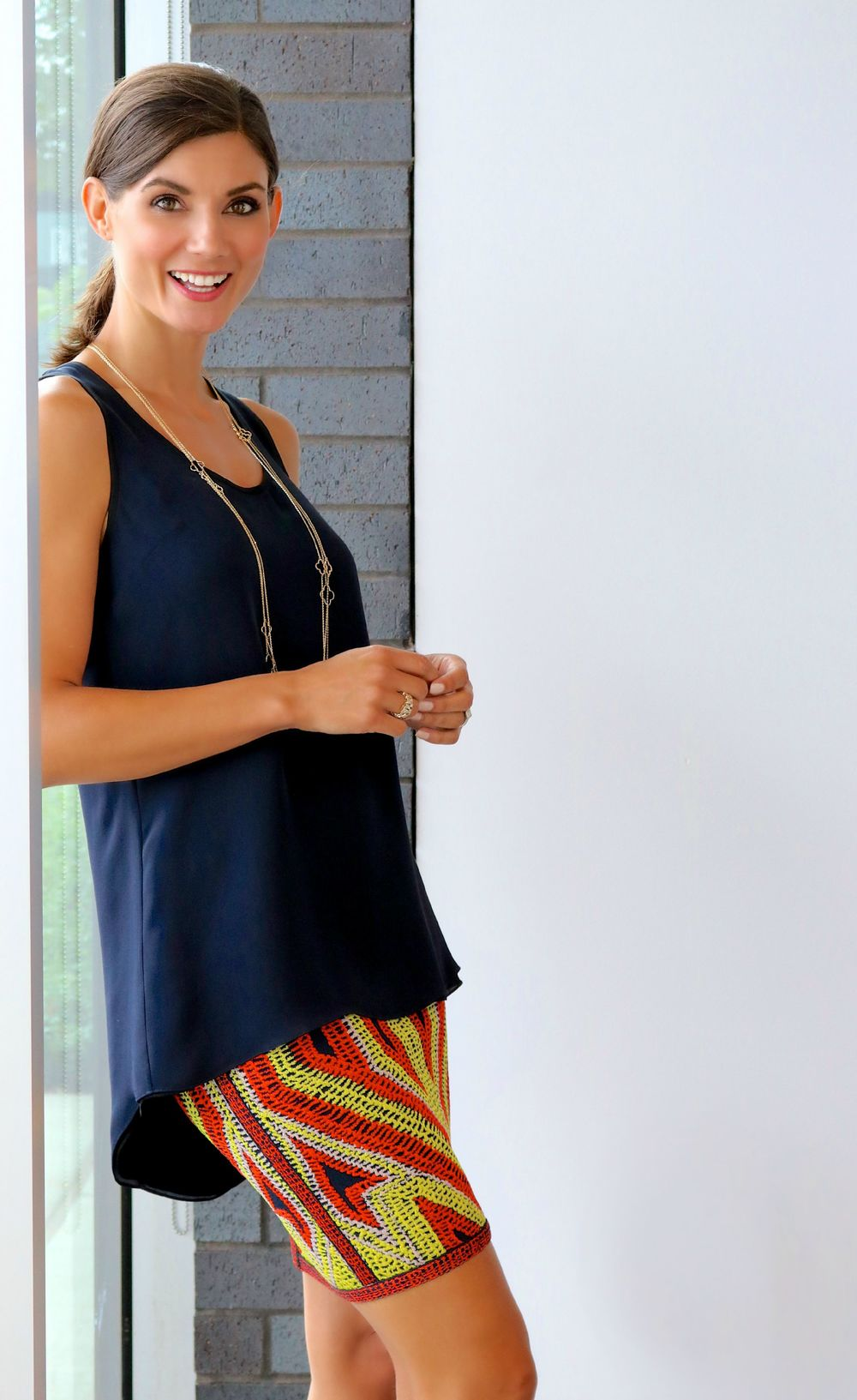 Karolina Zmarlak Navy/Black Reversible Sleeveless Drape Tunic