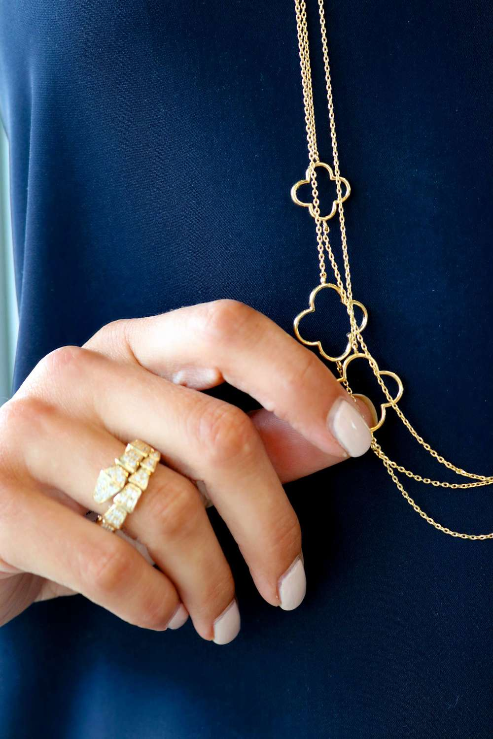 Snake Ring in Gold, Clover Long Strand Necklaces in Gold