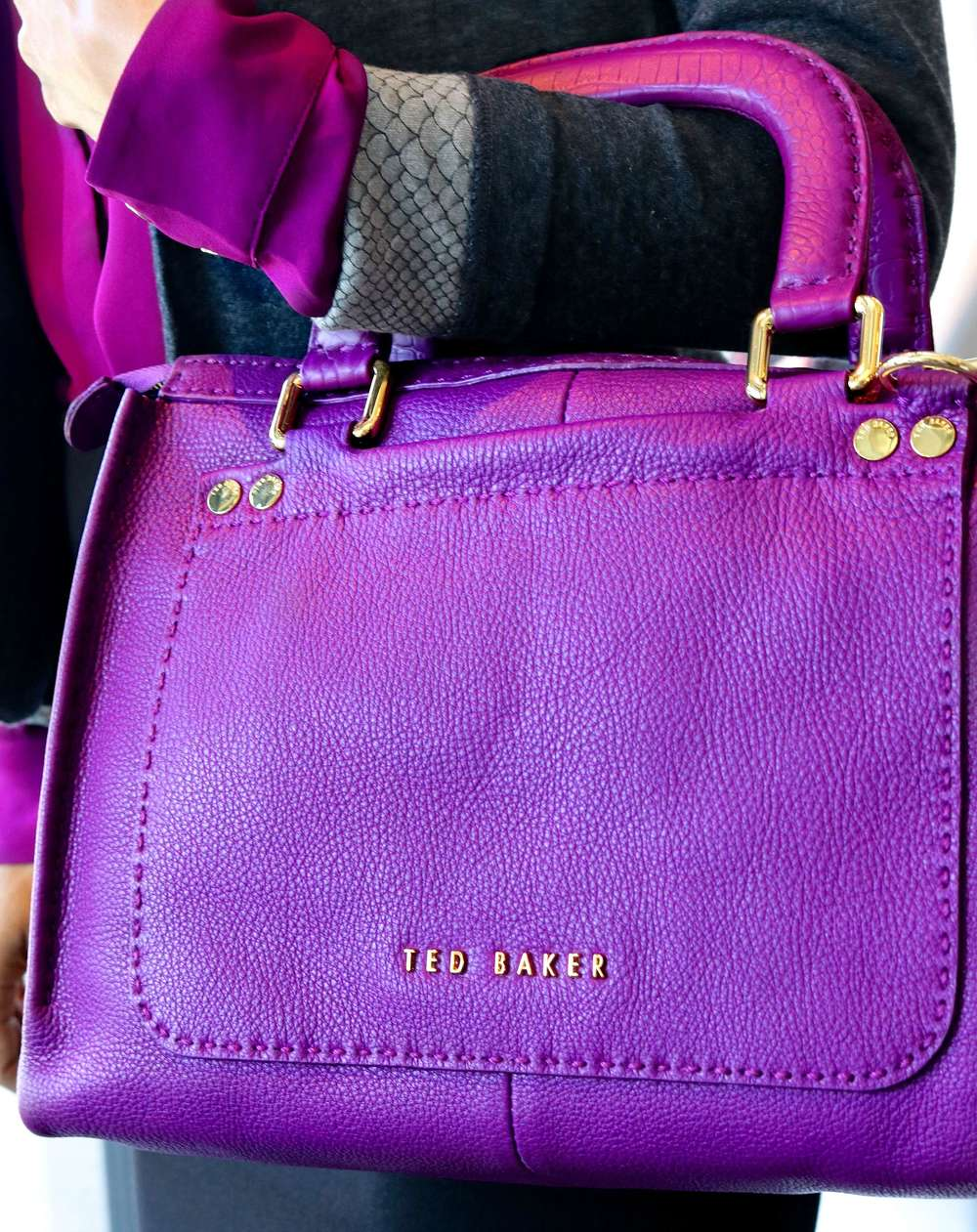 Ted Baker Gaitory Stab Stitch Leather Tote Bag in Grape