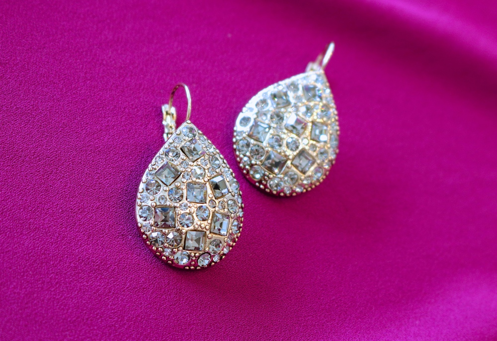 LIBERTÉ Black Diamond Swarovski Encrusted Teardrop Earring in Antique Gold