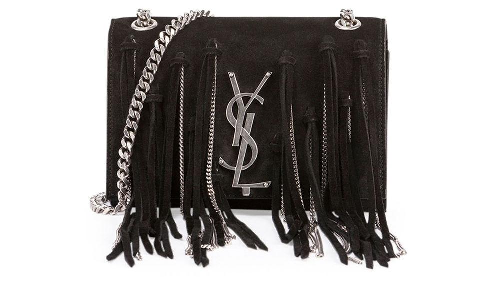 Saint Laurent Monogram Suede Shoulder Bag w/ Chain and Fringe