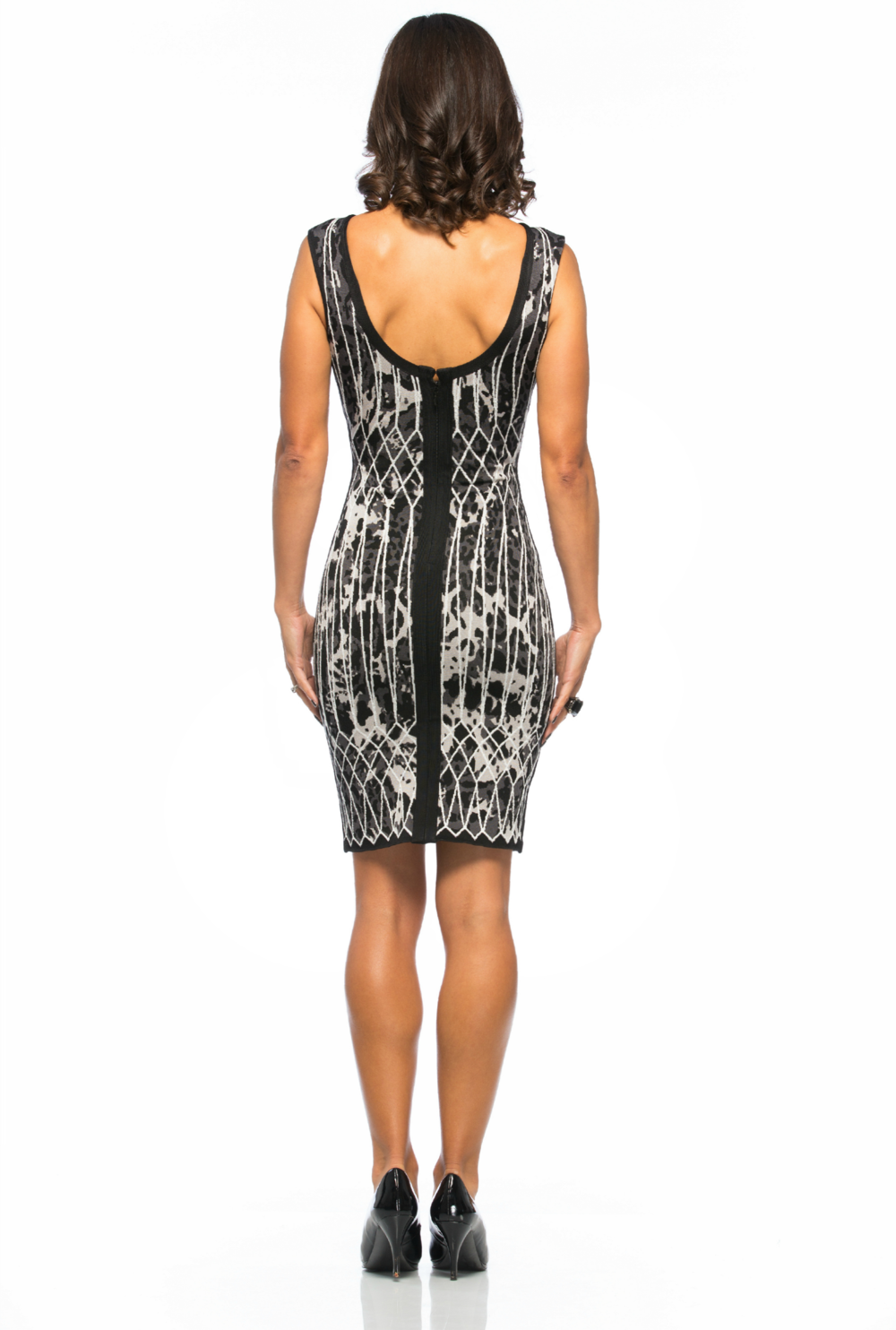 Sidney Open-Back Caged Animal Jacquard Dress $1490
