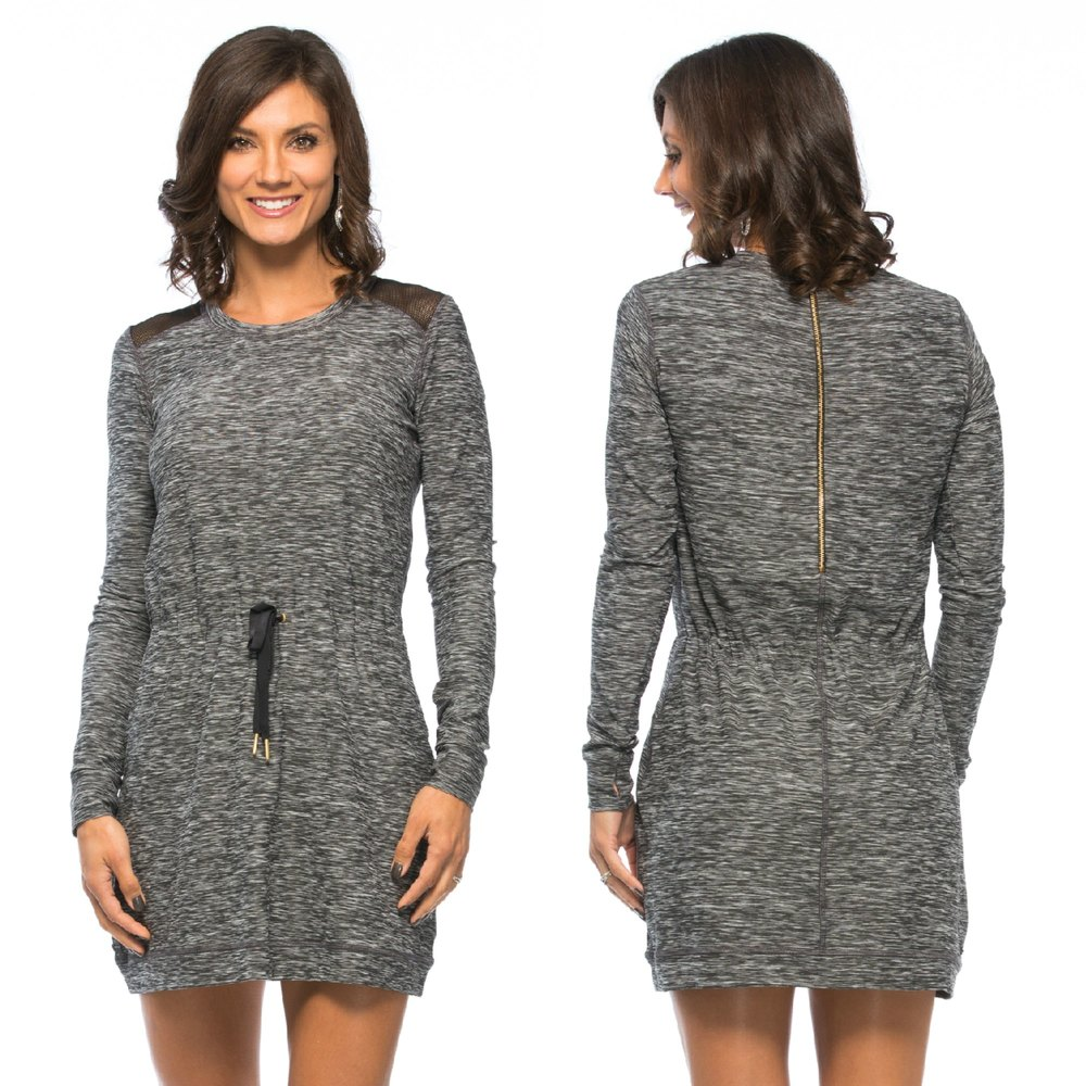 Alala Weekender Dress  features long sleeves, mesh panels at the shoulders & a tie at the waist