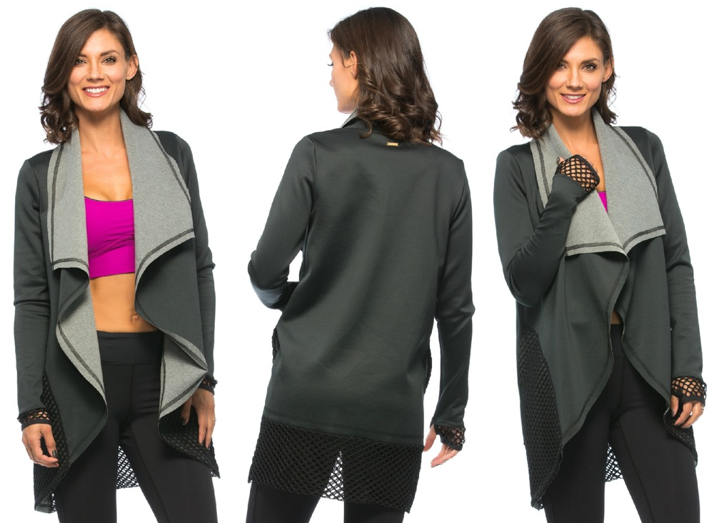 Neoprene Blanket Jacket, Black/Grey  and  Cut Cami Bra, Magenta