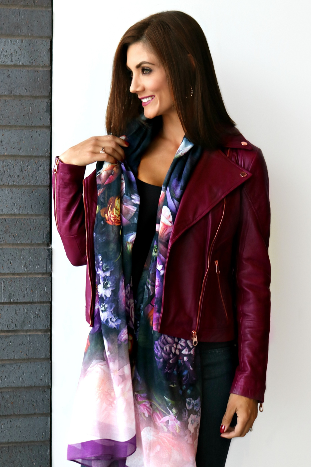Ted Baker Leather Jacket and Floral Scarf Available In Store Only