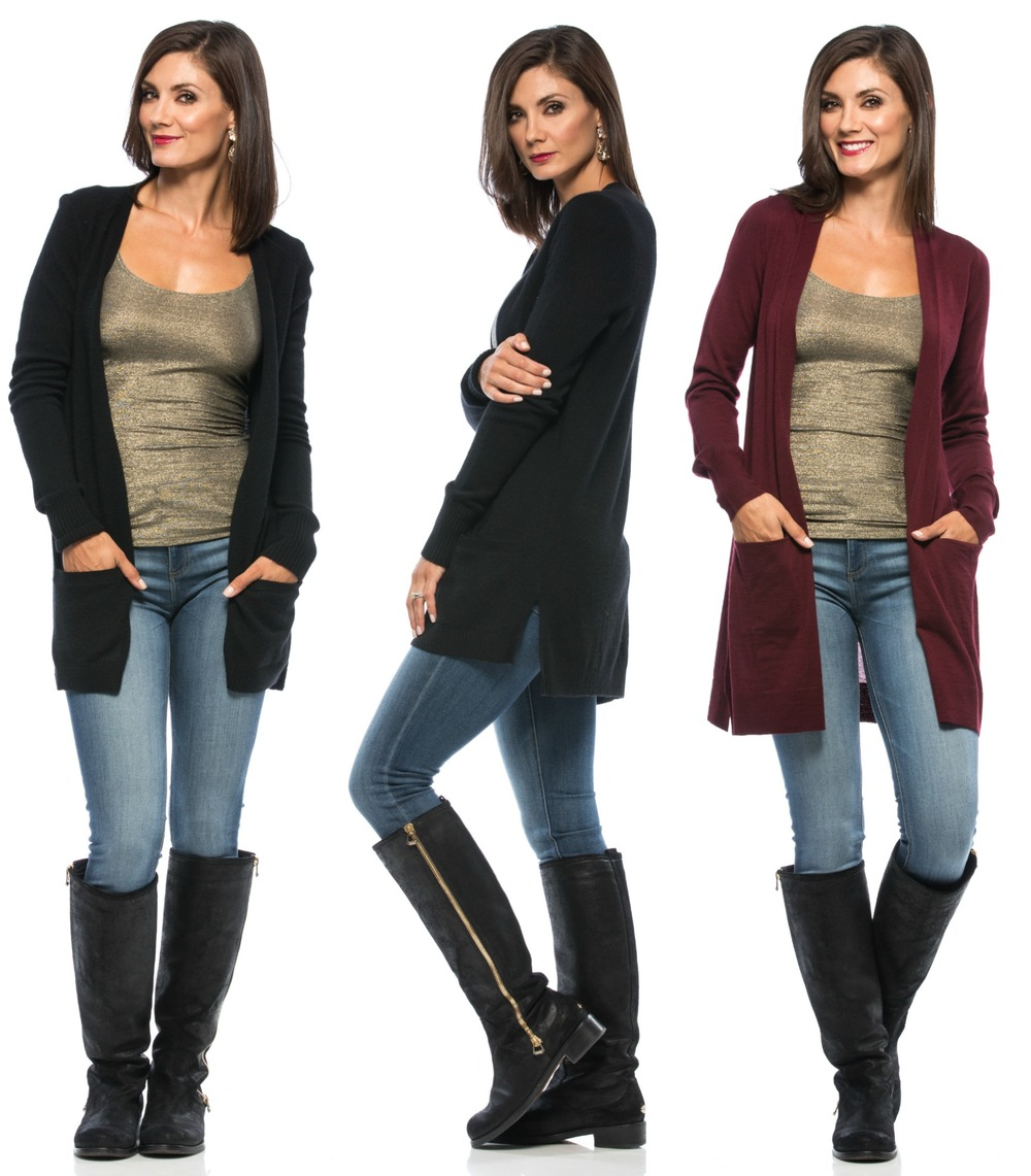 Christopher Fischer 7 Gauge Long Cardigan in Black.  Annette 16 Gague Long Cardigan in Burgundy