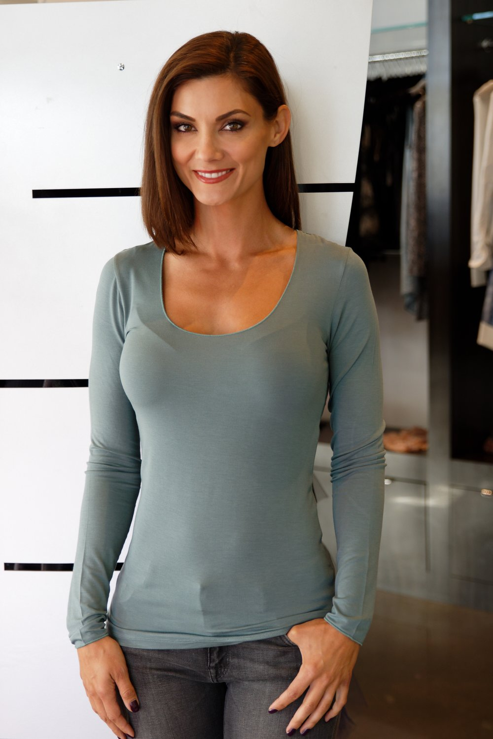 Soft Touch Marrow Edge Long Sleeve Scoop Neck in Skyline Blue