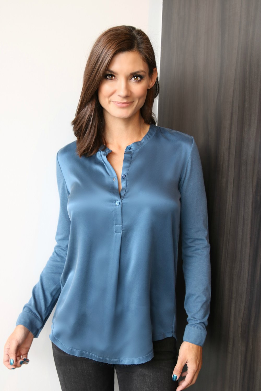 Silk Front, Cotton Cashmere Henley in Ocean Blue (Model is wearing size 1)