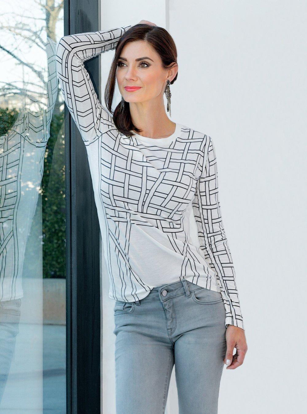 Annika T-Shirt, Alabaster Combo - $240