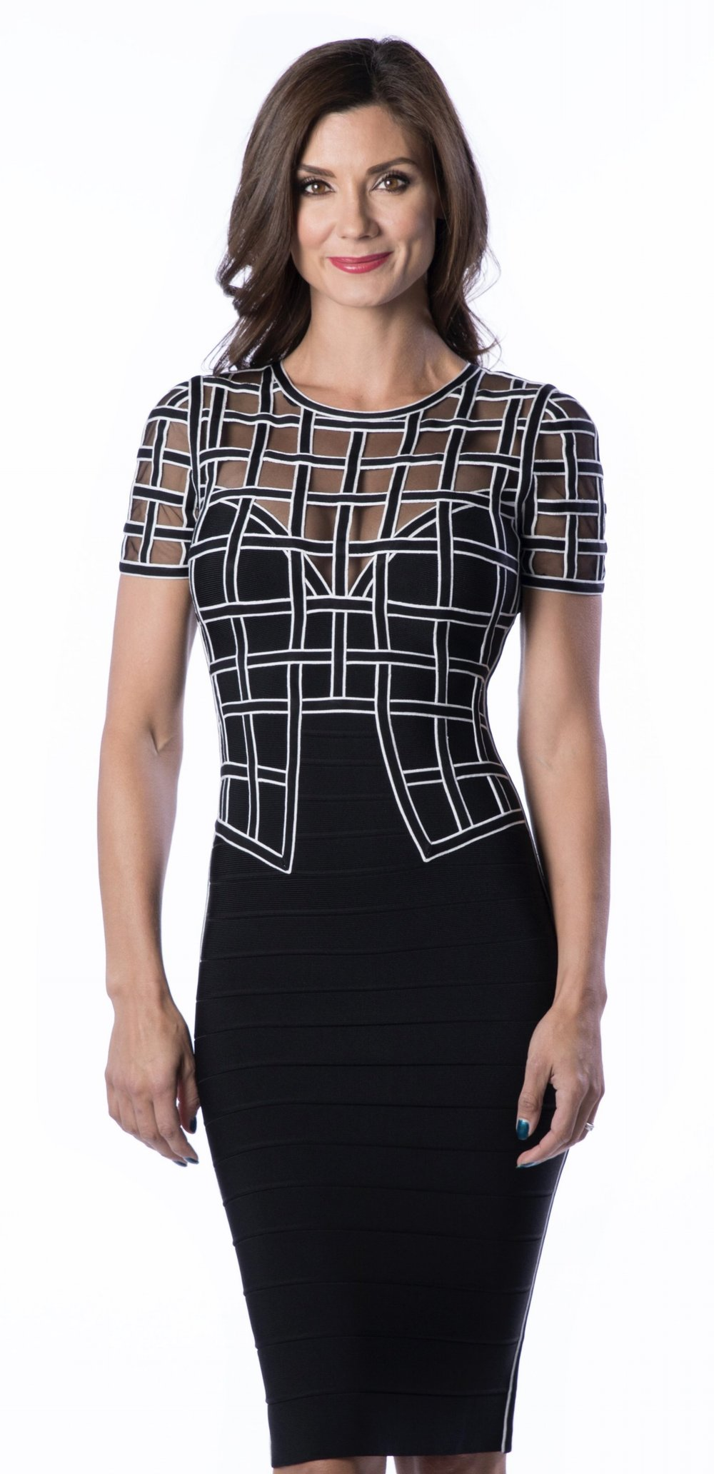 Below Knee Dress, Black Combo - $1,590