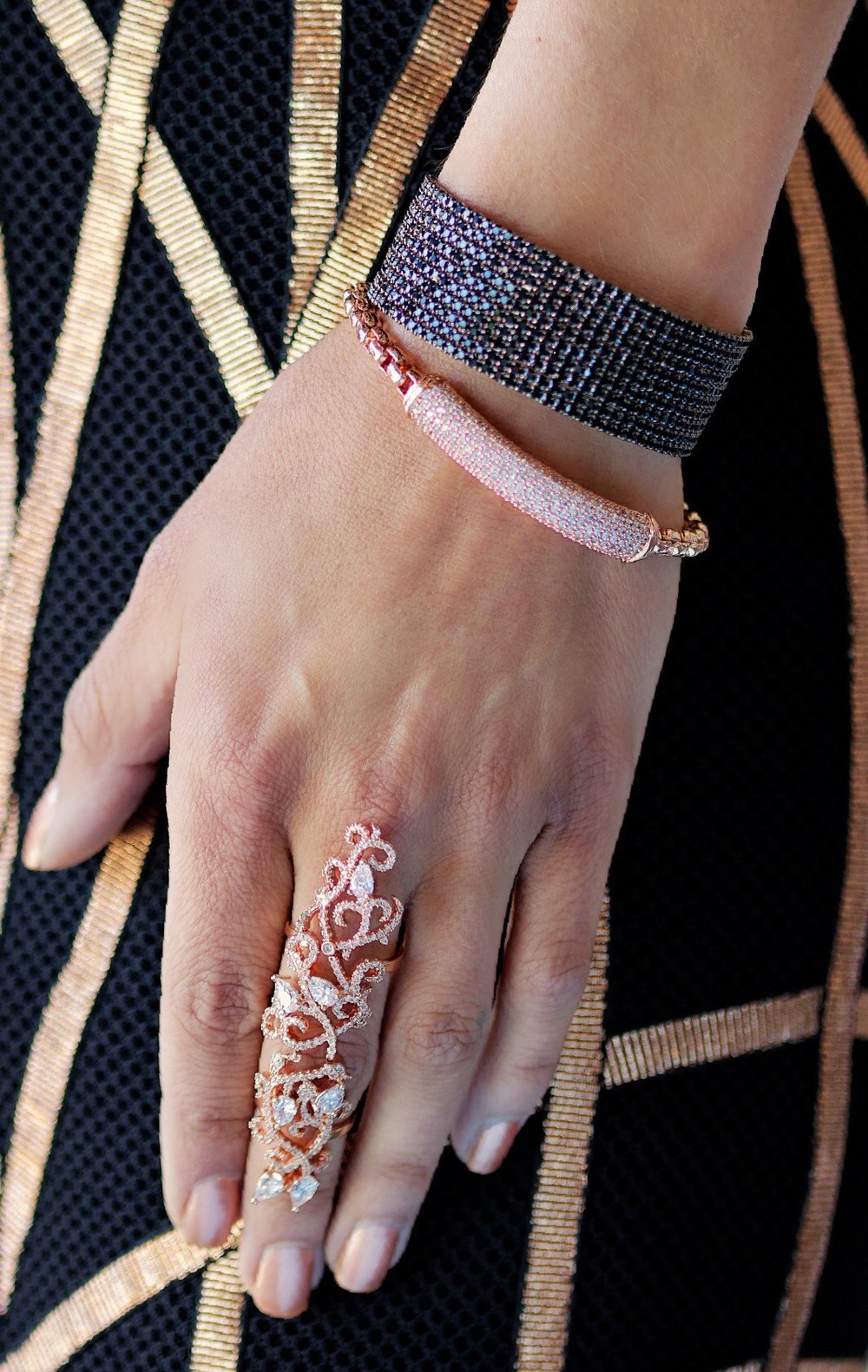 Rose Gold Garden of Eden Knuckle Ring, Rose Gold CZ Bar Bracelet w/ Ball Charm Accent, 10 Row CZ Bangle, Black- Theia