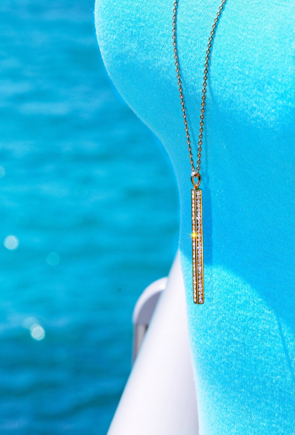 The Pillar Long Pendant Necklace w/ CZ, Gold- Theia