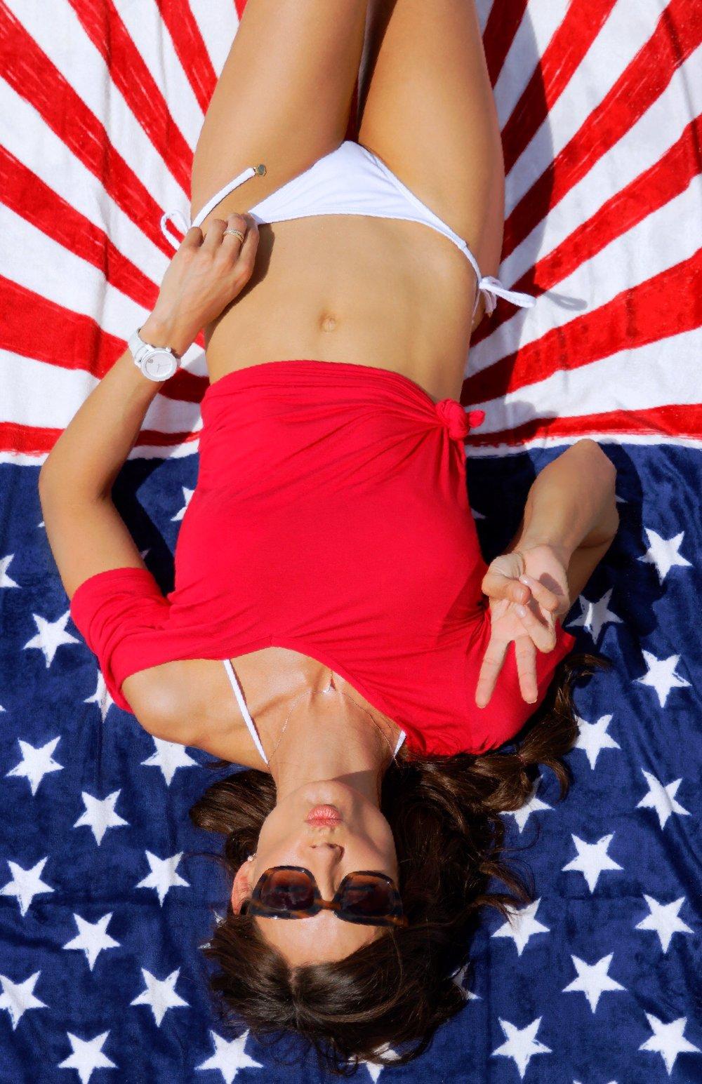 Soft Touch Oversized S/S V-Neck, Cherry- Majestic, EVY String Bikini Bottom, White- OndadeMar