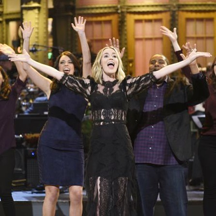 Live from New York!  Emily Blunt rocking Commando's two-faced tech half slip under her sheer dress at SNL.
