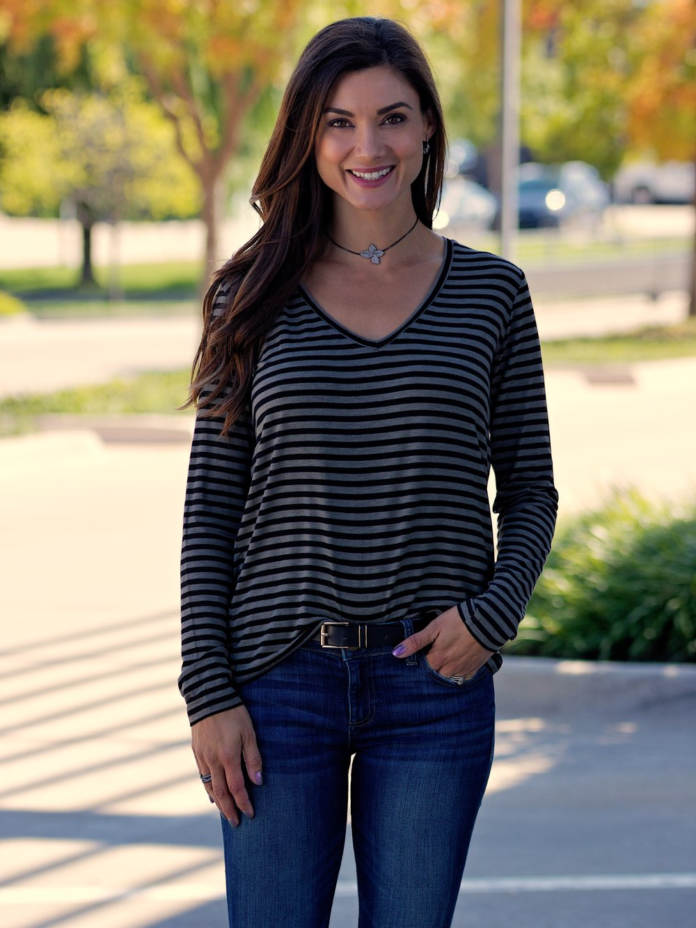 Soft Touch Stripe L/S V Neck Semi Relaxed