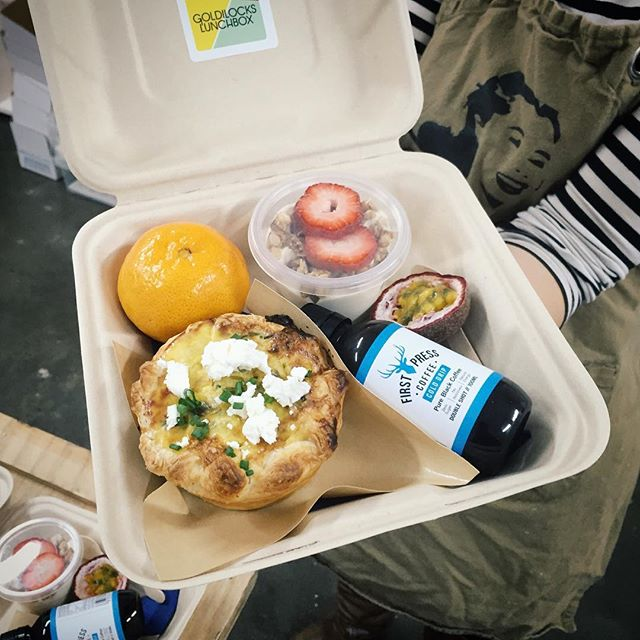 Today's breaky box . . . 🍓🍳 Caramelised leek, Gruyere & goats cheese tart. Vanilla bean yogurt, granola & fresh fruit. Cold drip coffee by @firstpresscoffee  #melbournefood #melbournecatering #firstpress #melbournebreakfast